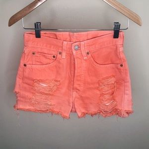 Levi's 501 distress shorts
